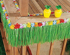 48 Ft Green Grass Table Skirt Fringe Luau Party Decor Hawaiian Beach Flower