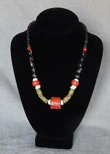 Antique,Handmade, Artisan Bead necklace, Alloy,Italy, Africa, China Coral