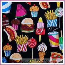 BonEful Fabric FQ Cotton Birthday Picnic Food Ice Cream Candy Cupcake Fruit RARE