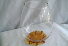 Vtg Art Glass Crystal Round Vase w. Applied Amber Foot Base-Narrow Top-Tulips
