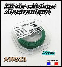 awg28V fil vert de câblage modélisme éléctronique Ø 0,8mm bobine  20m