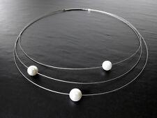 A Sign *Planets* 3-reihiger Halsreif Edelstahlseil Muschelkern Perlen Kette Weiß