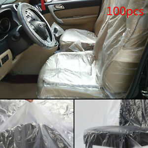 100P Disposable Plastic Car Seat Covers Repair Service Garage Vehicle Mechanic