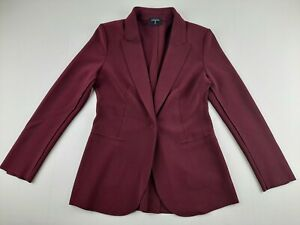 NEW T Tahari 4/6 Maroon Blazer Jacket 1 Magnetic Snap Button Stretchy Classic P