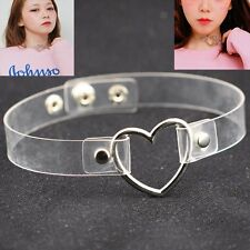 Sexy Punk Gothic PU Leather Choker Heart Ring Chain Buckle Collar  Necklace Gift