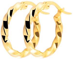 Ohrringe 20mm Creole Edelstahl Gold Mode gedreht extravagant Rund Modern Schmuck