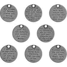 8 Quote Charms Antique Silver Tone Word Pendants Inspirational Tags Assorted Lot