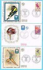 B2895 - FRANCE - Timbres N° 1543 à 1547 sur Enveloppes 1er Jour JO 1968