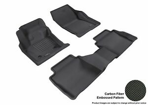 For 2013-2016 Lincoln Mkz R1 R2 KAGU Carbon Pattern Black All Weather Floor Mat