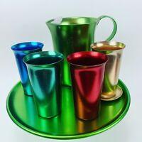 Anodized Spun Aluminum VTG Mid-century Modern Multicolor Beverage Set - 7 Piece
