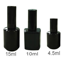 BLACK UV EMPTY NAIL POLISH GLASS BOTTLES FRANKEN BOTTLE BRUSH & CAP 4.5 10 15ml