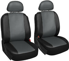 Faux Leather SUV Van Truck Seat Cover Grey Black 6pc w/Detachable Head Rests