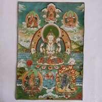 "36""Tibet Tibetan Cloth Silk Buddhism 4 Arm Guanyin Kwan-yin Tangka Thangka Mural"