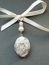 Wedding Bridal  Bouquet Photo Charm Oval Silver Bouquet Locket and Ivory pearls