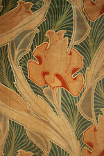 Antique Velvetine Curtain Art Nouveau Design Rare Rich Green Tones 1 of Set 1900