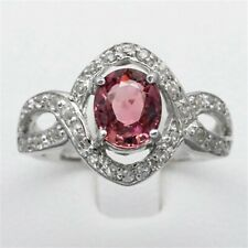 1.30ct Natural Purplish Pink Tourmaline Ring With Topaz in 925 Sterling Silver