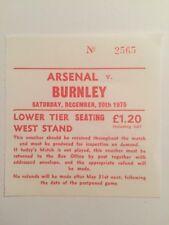 Ticket : Arsenal V. Burnley 20/12/1975