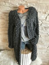 Italy Boucle Grob Strick long Cardigan Strickjacke  Jacke Gr. 36 38 40  Neu
