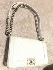 Chanel Gray Boy Bag With Silver Hardware