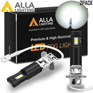 Alla Lighting Aluminum LED H3 Fog Light Bulb Driving Lamp Replacement,White 6K