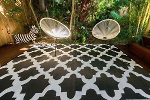 200 x 270cm Morocco Black Outdoor/Indoor Plastic Rug/Mat Waterproof