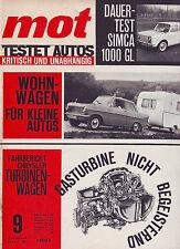 mot 9/1964 Simca 1000 GL/Kleine Wohnwagen/Chrysler/Wartburg 1000 TEST/25.4.64