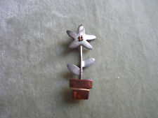 SWEET LITTLE FLOWER POT PIN OF COPPER & STERLING SILVER/ A & J.H./ MEXICO