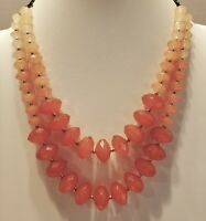 Vintage Lucite Beaded Two Strand/ Shades of Coral Necklace/Dark Gold Tone Chain