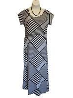 New BLACK WHITE MAXI Dress JUNIORS Plus Size 1X Crazy Stripe Knit Trendy Long