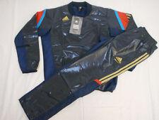 Adidas Men's Shiny Wet Look Nylon Tracksuit Top & Pants Bottoms Dark Blue L BNWT