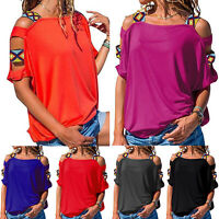 Womens Cold Shoulder T-shirt Cut Out Loose Fit Blouse Summer Casual Hollow Tops