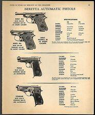 1968 BERETTA Minx M4 & M2, Puma, Cougar Pistol AD w/specs & orig prices