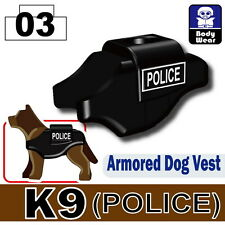 Police K9 Vest (W101) with custom tactical vest fits with real LEGO® dog