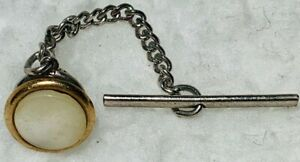 VINTAGE White  MOTHER OF PEARL ROUND TIE TACK LAPEL PIN WITH CHAIN Gold Silver