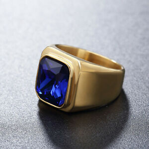 Stainless Steel Gold Plated with Blue Sapphire Ring for Men Women Wedding Band