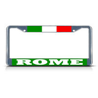 ITALY ROME Metal License Plate Frame Tag Border Two Holes