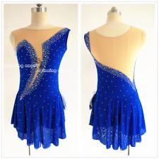 Ice Figure Skating Dress Gymnastics custome Dress Dance Competition Blue W048