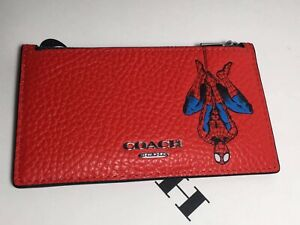 NWT 1857 Coach   Marvel Zip Card Case with Spider-Man