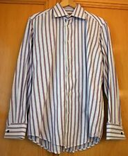 Robert Graham Long Sleeve Shirt - Size 42 X 16 1/2 Purple and White Striped NEW