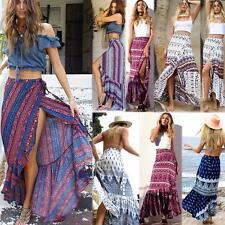 Women Dashiki Hippie Hight Waist Maxi Skirt Pleated Beach Long Casual Boho Dress