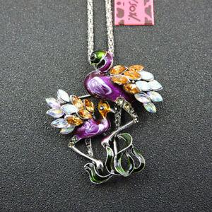 Betsey Johnson Purple Enamel Rhinestone Cute Flamingo Necklace Pendant/Brooch
