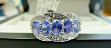 9ct Gold Tanzanite & Diamond Ring - Size M - Brand New With Tags