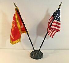"""EGA Marines Marine w/ Gold Fringe w/ USA Flag 4""""x6"""" Desk Set Table Black Base"""
