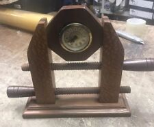 Handcrafted Wood Clock In The Shape Of A Wood Vise By Jack Morgan
