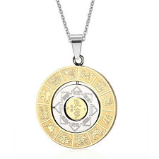 Vintage Stainless Steel Chinese Zodiac Mens Womens Rotating Necklace Gold Silver