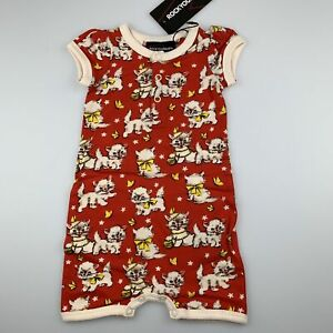 Girls size 00, Rock Your Baby, stretchy retro cat print romper, NEW
