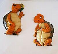 Vintage Pair Burwood Turtles Plastic Wall Hangings Orange Brown Boy Girl 1978