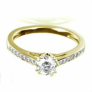 DIAMOND SOLITAIRE ACCENTED RING 8 PRONG 1.21 CARATS 18 KT YELLOW GOLD WOMEN