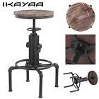 iKayaa Industrial Metal Bar Stool Adjustable Wood-Top Swivel Dining Pub Chair