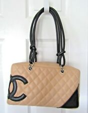 Authentic Chanel Cambon Biege & Black Quilted Leather Shoulder Bag